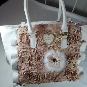 Betsey Johnson Satchel Handbag, NWOT Cream & Beige